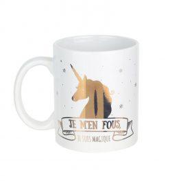 Mug céramique Licorne : je m'en fous je suis magique