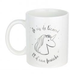 Mug céramique Licorne : je vis de licorne et d'eau fraîche