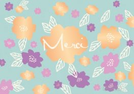"Carte Double Florale Colorée ""Merci"""