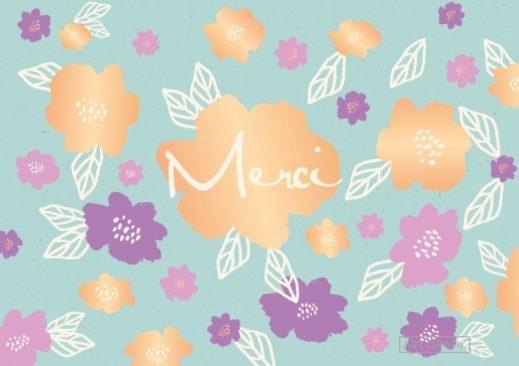 """Carte Double Florale Colorée """"Merci"""""""