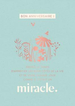 """Carte Double Joyeux Anniversaire """"Miracle"""""""