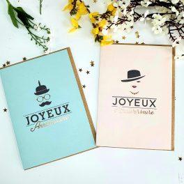 """Carte Double """"Joyeux Anniversaire"""" Madame/Monsieur"""