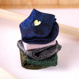Chaussettes coeur irisée 5 couleurs
