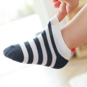 Chaussettes bleu blanc rouge petit cœur bébé