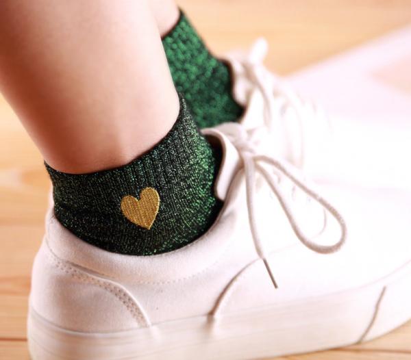 chaussette irisée verte