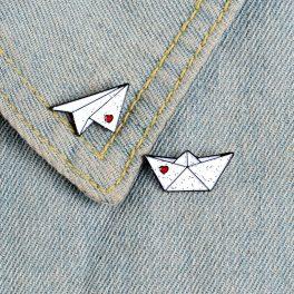 """Pin's """"Origami papier"""" - Bateau et avion"""