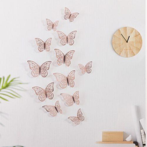 Papillons décoratifs 3D Rose Gold ou Argent