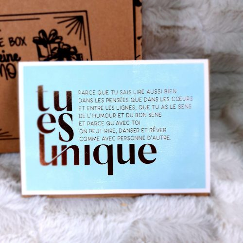 """Carte double vintage """"Tu es Unique"""""""
