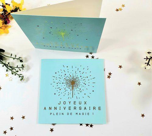 Carte double Joyeux anniversaire plein de magie