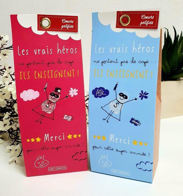 Bonbons pour remercier les enseignants - Berlingot de bonbons rose ou bleu
